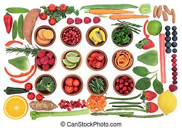 sano, súper, dechado, alimento