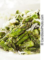 sano, sauteed, asparago, tagliato