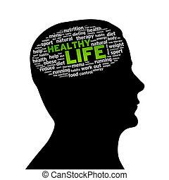 sano, silueta, cabeza, -, vida