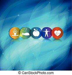 sano, simbolo, stile di vita, fondo