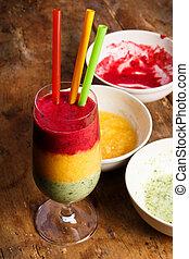 sano, smoothie, da, frutte fresche, perfetto, colazione