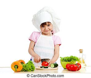 sano, sopra,  chef, cibo, preparare, fondo, ragazza, bianco