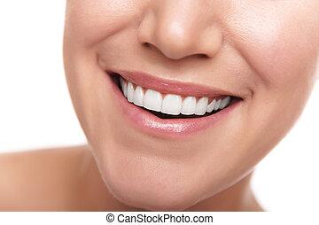 sano, sorriso, bianco, denti