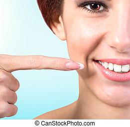 sano, sorriso, bianco, fresco, denti