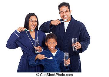 sano, spazzolatura, famiglia, denti