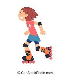 sano, sport, capretto, ragazza, rollerblading, illustrazione...