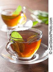 sano, tè, erbaceo, foglia, saggio