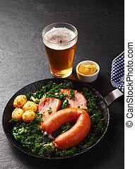 sano, tedesco, ricetta, su, uno, pan, con, birra, su, lato