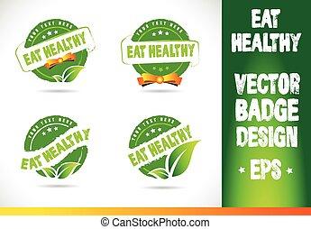 sano, vector, insignia, comer