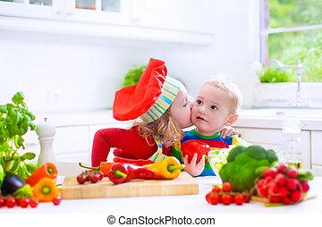 sano, vegetabl, niños, preparando