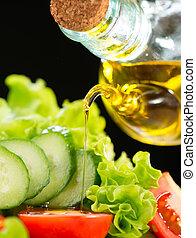 sano, vegetal, ensalada, con, aceite de oliva, aliño