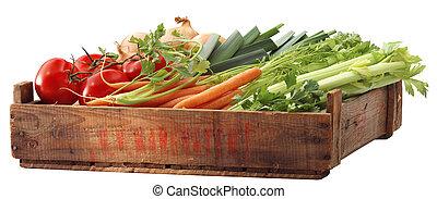 sano, vegetales, cajón