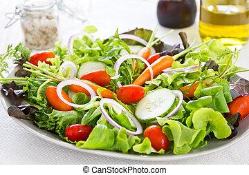 sano, vegetales, ensalada