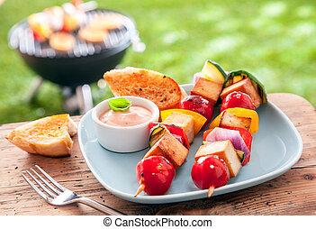 sano, verano, halloumi, kebabs, comida