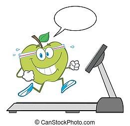 sano, verde, carácter, manzana