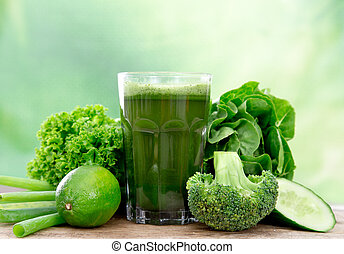 sano, verde, jugo