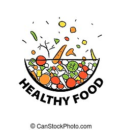sano, verdura, dieta, vettore, logotipo, fresco