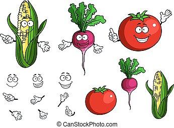 sano, verdure fresche, cartone animato, felice