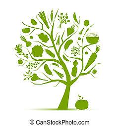 sano, vida, -, árbol verde, con, vegetales, para, su, diseño