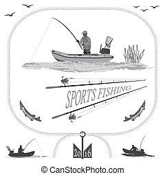 sano, vida, en, naturaleza, y, pesca
