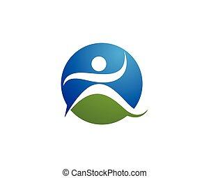 sano, vida, logotipo