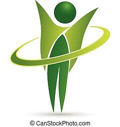 sano, vida, tela, logotipo, diseño