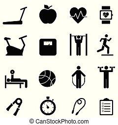 sano, vita, idoneità, dieta, icone
