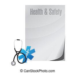 sano, y, seguridad, ilustración médica, diseño