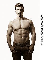 sans chemise, homme, musculaire, portrait