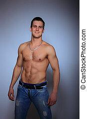sans chemise, jean, homme