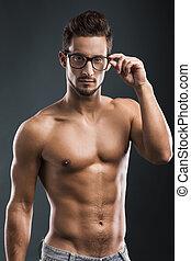 sans chemise, mâle, modèle, beau
