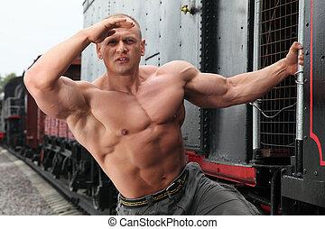 sans chemise, montre, garde, fort, locomotive, homme