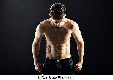 sans chemise, musculaire, fond foncé, portrait, sexy, homme