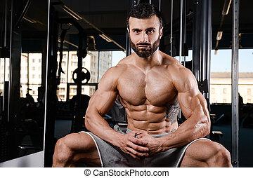 sans chemise, musculaire, regarder, sexy, portrait, modèle, mâle, loin