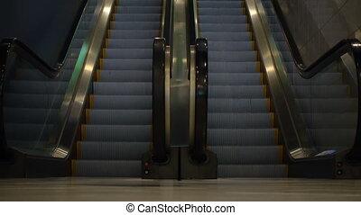 sans, en mouvement, escalator, gens