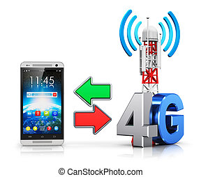 sans fil, 4g, concept, communication