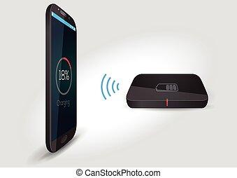 sans fil, batterie, mobile, chargeur