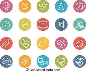 sans fil, communications, icônes