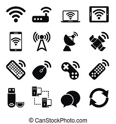 sans fil, ensemble, appareils, icônes