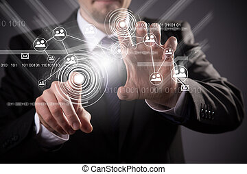sans fil, média, technologie moderne, social