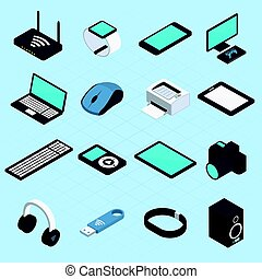 sans fil, mobile, isométrique, appareils