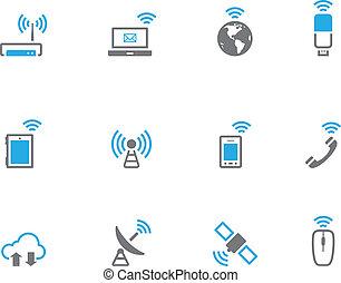 sans fil, mondiale, duotone, -, icônes