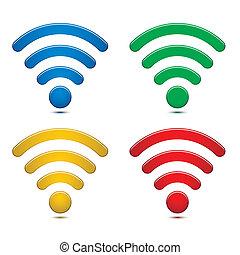 sans fil, réseau, symboles, ensemble