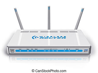 sans fil, routeur, blanc, adsl