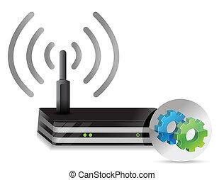 sans fil, routeur, engrenages