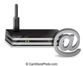 sans fil, routeur, signe, internet