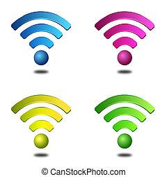 sans fil, symboles, différent, couleurs