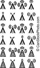 sans fil, symboles, vecteur, tour radio, ou