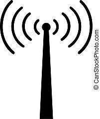 sans fil, tour, signal, réception