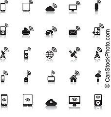 sans fil, vecteur, hotspot, icônes